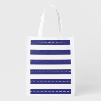 Nautical Navy Blue And White Stripes Pattern Reusable Grocery Bag
