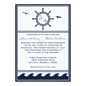 Nautical navy blue and white wedding invitations 5