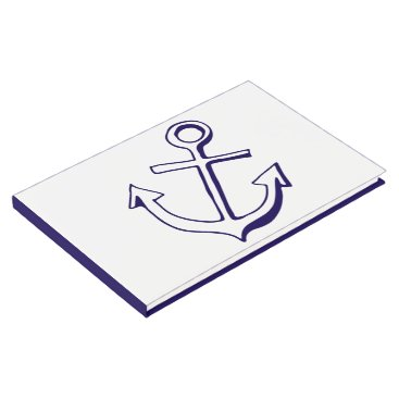 Nautical Navy Blue And White Wedding Ship Anchor Guest Book