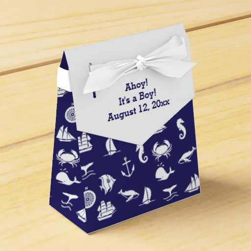 Blue Baby Shower Favor Boxes : Nautical navy blue baby shower favor boxes zazzle