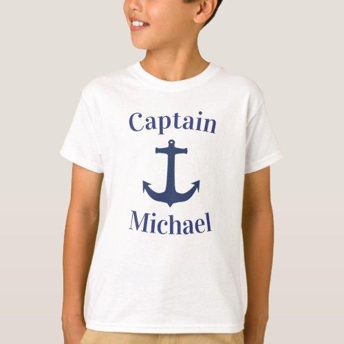 Nautical Navy Blue Boat Anchor Captain Name T_Shirt