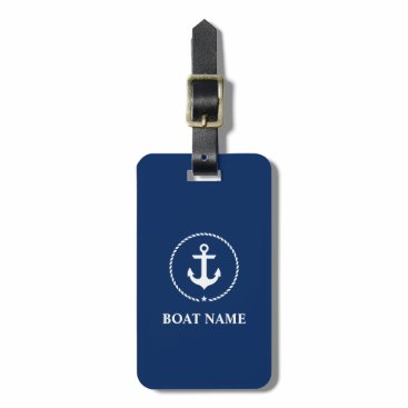 Nautical Navy Blue Boat Name Anchor Rope Luggage Tag