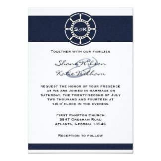 Nautical Navy Blue Boat Wheel Wedding Invitation