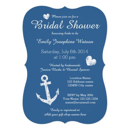 Nautical navy blue bridal shower invitations invites