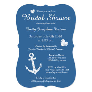 Nautical navy blue bridal shower invitations 5