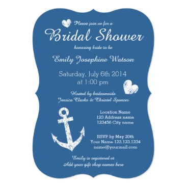 Valentines Themed Nautical navy blue bridal shower invitations