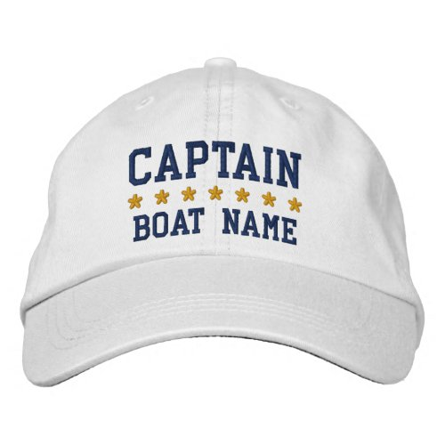 Nautical Navy Blue Captain Your Boat Name White Embroidered Baseball Cap