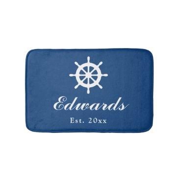 Beach Themed Nautical navy blue custom family name bath mat rug