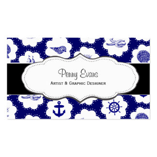 Nautical Navy Blue Double Sided Business Cards