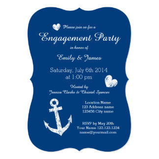 Nautical navy blue engagement party invitations