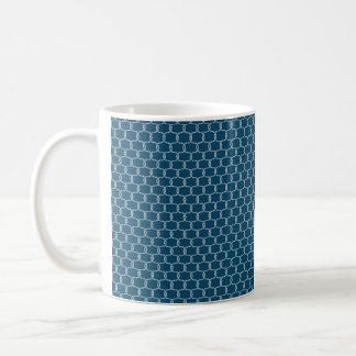 Nautical Navy blue Fishing Net Beach Print Coffee Mug