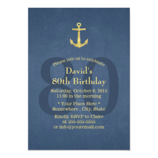 Nautical Navy Blue Gold Anchor 80th Birthday Party Card