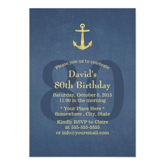 nautical navy blue gold anchor 80th birthday party invitation