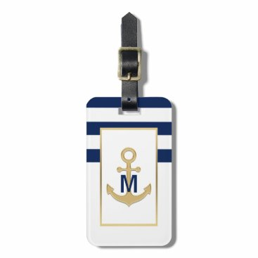 Nautical Navy Blue Gold Anchor Monogram Bag Tag
