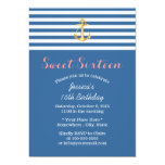 Nautical Navy Blue Gold Anchor Sweet 16 5x7 Paper Invitation Card