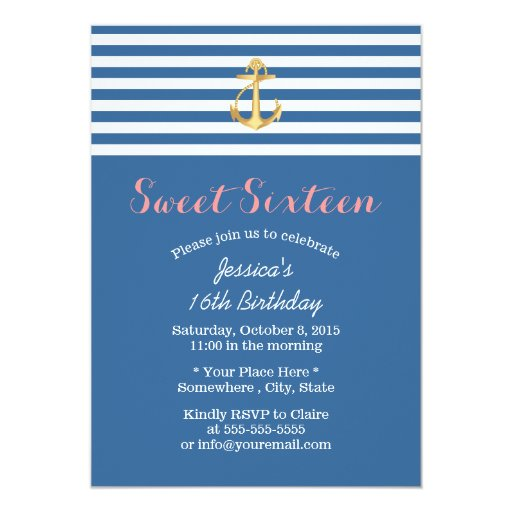 Nautical Navy Blue Gold Anchor Sweet 16 Personalized Invitation