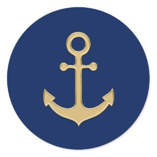 Nautical Navy Blue Gold Anchor Wedding Shower Classic Round Sticker
