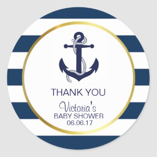 Nautical Navy Blue Gold Stripes Anchor Baby Shower