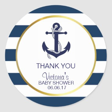 BabyCreations Nautical Navy Blue Gold Stripes Anchor Baby Shower Classic Round Sticker