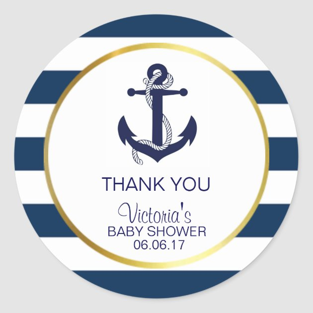 Nautical Navy Blue Gold Stripes Anchor Baby Shower Classic Round Sticker |  Zazzle.com