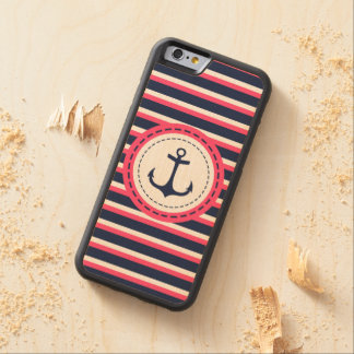 Nautical Navy Blue Hot Pink Stripes Anchor Design Carved® Maple iPhone 6 Bumper Case
