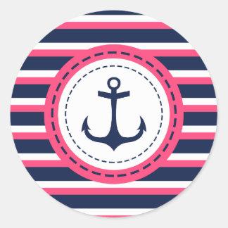 Nautical Navy Blue Hot Pink Stripes Anchor Design Classic Round Sticker