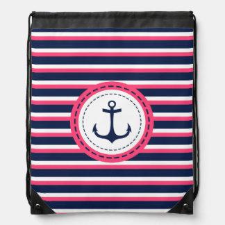 Nautical Navy Blue Hot Pink Stripes Anchor Design Drawstring Bag