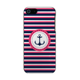 Nautical Navy Blue Hot Pink Stripes Anchor Design Metallic Phone Case For iPhone SE/5/5s