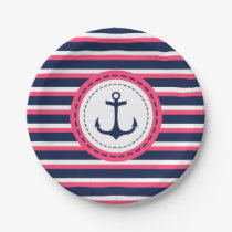 Nautical Navy Blue Hot Pink Stripes Anchor Design Paper Plate