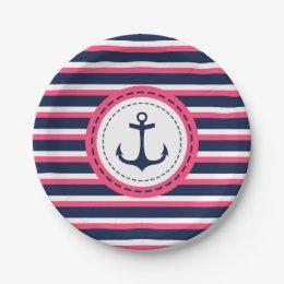 Nautical Navy Blue Hot Pink Stripes Anchor Design Paper Plate ...  sc 1 st  Zazzle & Blue White Stripes Plates | Zazzle