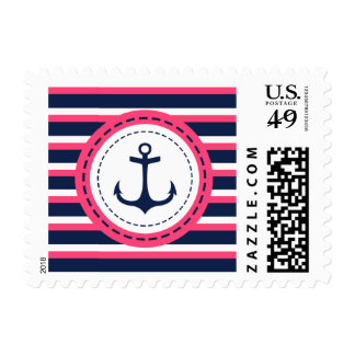 Nautical Navy Blue Hot Pink Stripes Anchor Design Postage Stamps