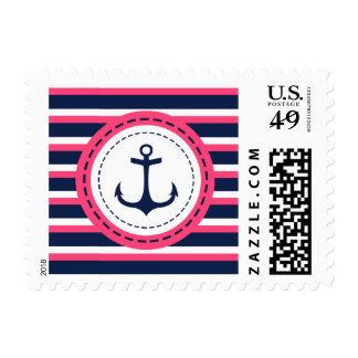 Nautical Navy Blue Hot Pink Stripes Anchor Design Stamp