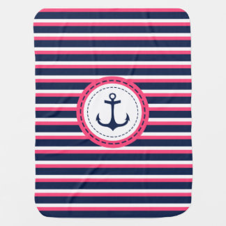 Nautical Navy Blue Hot Pink Stripes Anchor Design Stroller Blanket