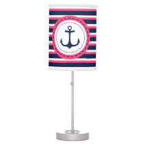 Nautical Navy Blue Hot Pink Stripes Anchor Design Table Lamp