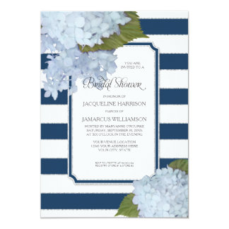 Nautical Navy Blue Hydrangea Modern Bridal Shower Card