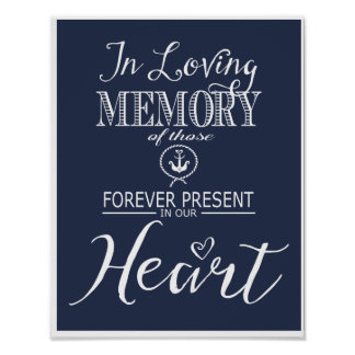 Nautical Navy Blue In loving Memory print