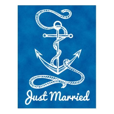 Beach Themed Nautical Navy Blue Just Married Anchor Watercolor Postcard