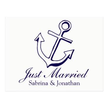 Nautical Navy Blue Just Married Ship Anchor Beach Postcard