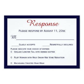 Nautical Navy Blue Lobster Wedding RSVP Cards