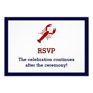 Nautical Navy Blue Lobster Wedding RSVP Cards