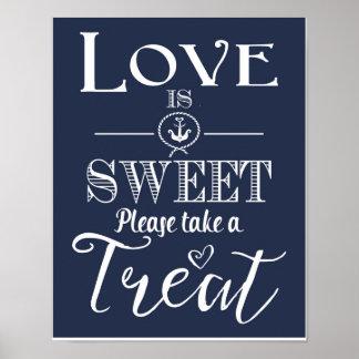 Nautical Navy blue Love is sweet Print