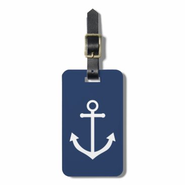 Nautical Navy Blue Luggage Tag with Anchor