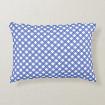 Beach Themed Nautical Navy Blue Plaid Accent Pillow
