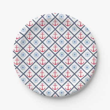 Beach Themed Nautical Navy Blue Red Anchor Ship Wheel Party Paper Plate