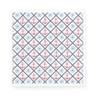 Beach Themed Nautical Navy Blue, Red Anchor,  Ship Wheel Sailor Paper Napkin