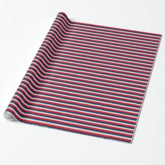 Nautical Navy Blue, Red, Silver Horizontal Stripe Wrapping Paper