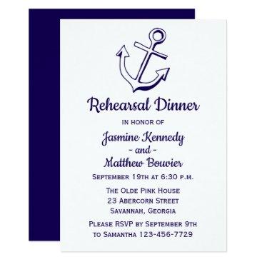 Beach Themed Nautical Navy Blue Rehearsal Dinner Ship Anchor Card