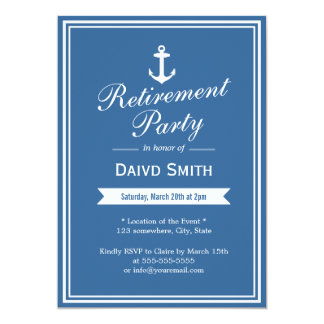 Nautical Navy Blue Retirement Party Invitations