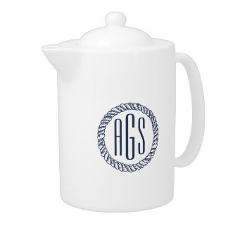Nautical Navy Blue Rope Monogram Teapot