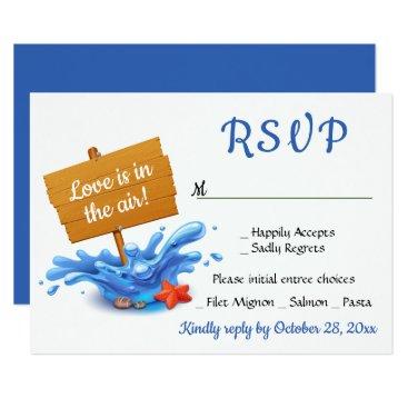 Beach Themed Nautical Navy Blue RSVP Beach Wedding Party Ocean Card